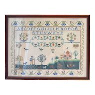 "24"" Folk Art Sampler in Custom Wood Frame"