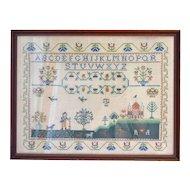 """24"""" Folk Art Sampler in Custom Wood Frame"""