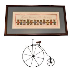 Handmade Cross-Stitch 'Love Bears All Things' Teddy Bear Folk Art in Custom Wood Frame