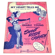 1943 'My Heart Tells Me' Betty Grable as Sweet Rosie O'Grady Sheet Music