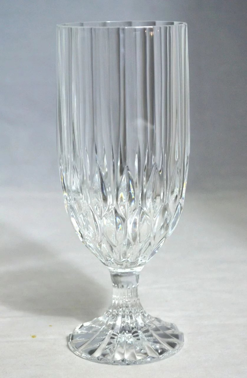 set of 8 lead crystal fluted diamondcut water goblets or