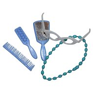 1960s Barbie ~ Blue Mirror, Brush & Comb, Eyeglasses & Necklace