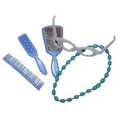 1960s Barbie ~ Blue Mirror, Brush & Comb, Eyeglasses & Necklace