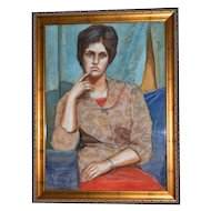 """1962 Icy Blue Eyes ~ 34"""" Lady Portrait Painting by Artist Charlotte Smith"""