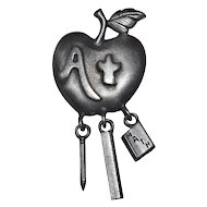 Gunmetal Gray Teacher or Student's Apple Dangle Pin/Brooch
