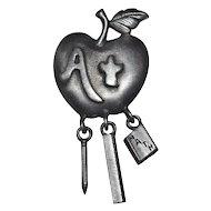 Gunmetal Gray Teacher or Student's Apple Dangle Pin/Brooch