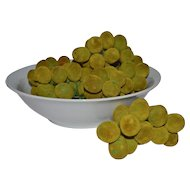 1950s Set of 5 Flocked Velvet Green Grape Fruit Clusters