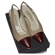Saks Fifth Avenue ~ Natural Linen & Alligator Embossed Slingback Heels w/ Original Box