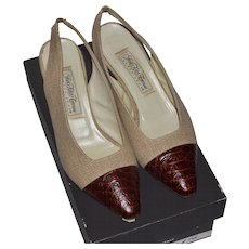 Saks Fifth Avenue ~ Natural Linen & Alligator Embossed Slingback Heels w/ Original Box