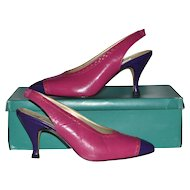 1980s Bandolino ~ Pink & Purple Color Block SIingback Heels w/ Box