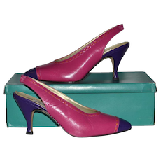 1980s Bandolino ~ Pink & Purple Color Block SIingback Heels w/ Box