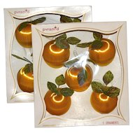 Pyramid ~ Set of 10 Satin Peach w/ Green Velvet Leaf Ornaments in Original Boxes