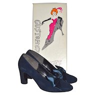 1960s Custom Craft ~ Blue Suede Shoes w/ Satin Bows & Original Box