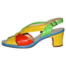 1960s Selby Fifth Avenue ~ Colorblock Leather Sandal Shoes