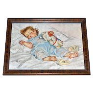 1920s Maud Tousey Fangel 'Sleeping Baby' Color Lithograph in Tiger Oak Frame