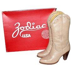 1970s Zodiac ~ Rockabilly Ash Beige Leather Stacked Heel Western Boots w/ Original Box