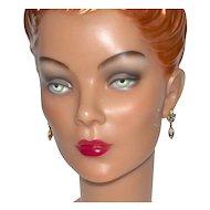 Monet ~ Navette Rhinestone Pierced Dangle Earrings