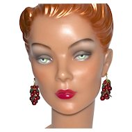 Red Berry & Lucite Leaf Cha-Cha Dangle Earrings