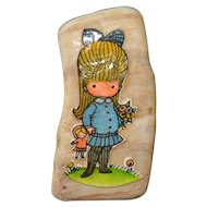1970s Joan Walsh Anglund Girl w/ Doll Stone Pin
