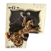 1960s Griffith ~ 12K GF Horse & Chariot w/ Enameled Driver Mechanical Charm on Orig Card