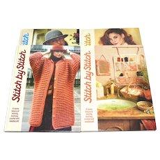 1985 Stitch By Stitch ~ Set of 4 Sewing, Knitting, Crochet, Needlecraft Hardcover Books