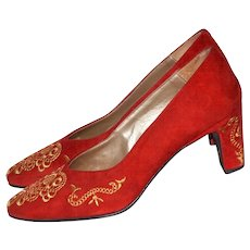 Spiegel ~ Red Suede Leather w/ Gold Embroidery Heels ~ Size 6B