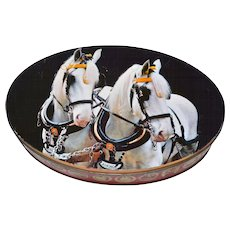 Carrs of Carlisle England ~ Beautiful White Horse Photo on Oval Biscuit or Cookie Tin