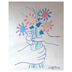 Lambert ~ Picasso Les Petites Fleurs Canvas Art Reproduction w/ Yellow Mat