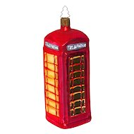 Red Blown Glass Telephone Booth Christmas Ornament