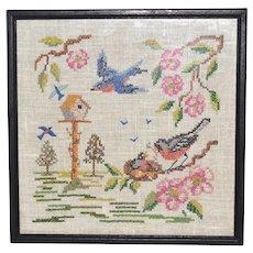 Cross-Stitch Embroidery Birds w/ Birdhouse & Flowers in Frame