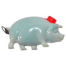 1930s Blue Pig in Red Hat Celluloid Sewing Tape Measure