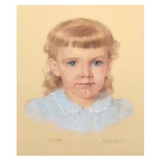 "1957 Signed & Framed Original ""Laura"" Pastel Painting"