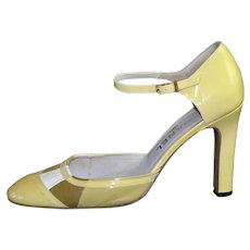 CHANEL Yellow & Pink Mod Patent Leather Mary Jane Style High Heels ~ Size 38.5