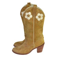 1970s Acme ~ Rockabilly Daisy Suede Leather Stacked Heel Western Boots