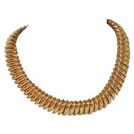 Gorgeous Bold Herringbone Style Goldtone Necklace
