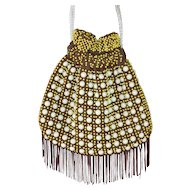 1970s Quirky Brown & Yellow Egg Bead Fringe Drawstring Purse