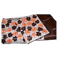 Salmon Pink & Chocolate Brown Flower Italian Scarf