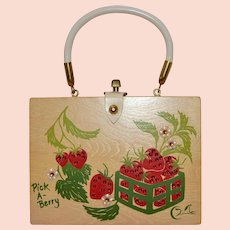 1960s Enid Collins ~ 'Pick A-Berry' Bejeweled Wood Box Purse