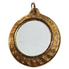 Round Glass Locket Goldtone Pendant/Charm