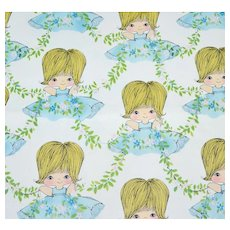 1960s Cute Girl Gift Wrap/ Wrapping Paper