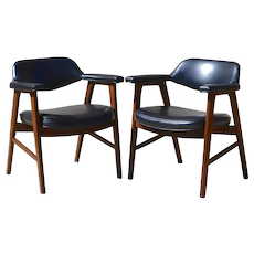 Set of 2 Paoli Mid-Century Danish Modern Chairs, Juhl Chieftain Style, American Made