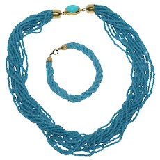 Robin's Egg Blue Glass Seed Bead Necklace & Matching Bracelet