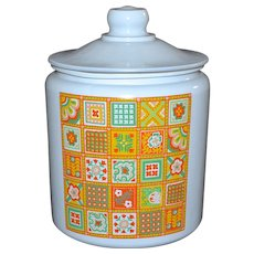 1970s Yellow/Orange Patchwork Flashed Glass Cookie Jar w/ Lid