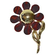 1960s Tortoise Shell Lucite Flower Pin/Brooch