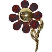 1960s Tortoise Shell Lucite Flower Pin/Brooch