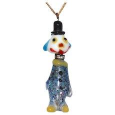 Rare Murano Confetti Art Glass & Rhinestone Clown Pendant