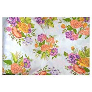 1960s Bibb Co. Queen Size Orange & Purple Flower No-Iron Flat Sheet