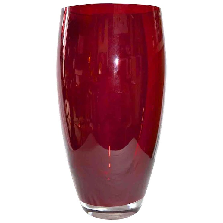 Large Deep Red Glass Poland Made For Bombay Company Vase Sold Ruby