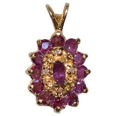 14K Gold Ruby & Diamond Pendant
