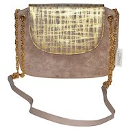 Magdesian's of California Metallic Taupe Suede Goldtone Chain Purse